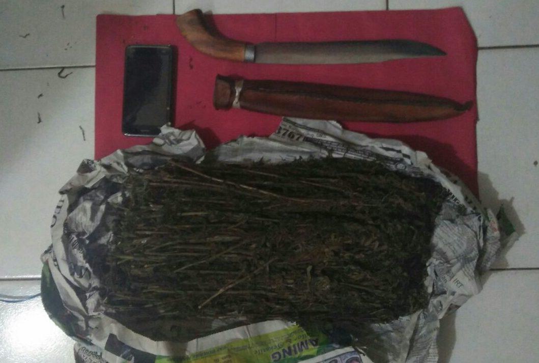 Tersangka Siswanto (duduk) beserta barang bukti 1Kg Ganja saat diamankan Di Mapolres Empat Lawang.